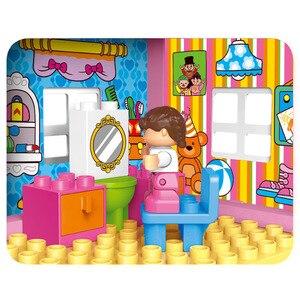 Image 4 - Gorock 78個大型ピンクヴィラ女の子ビッグビルディングブロックセット子供duploe diyレンガと互換性モデルのおもちゃ子供のための