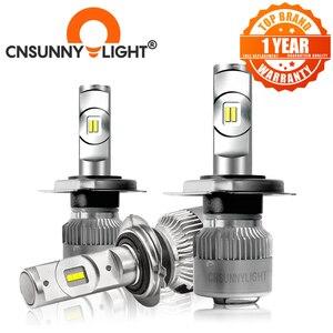 Image 1 - CNSUNNYLIGHT R2 LED reflektor samochodowy H7 H4 H11/H8 H1 9005/HB3 9006/HB4 prawdziwe 50W 7600lm/para Turbo wentylator żarówki CSP reflektor 12V światła