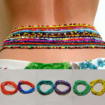 2 Pcs Sexy Summer Waist Bead Chains African Belly Beads Colorful Beach Bikini Body Belly Chain Elastic Jewelry for Women Girls image