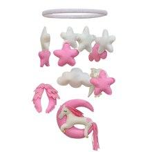 Ручной работы Розовый Единорог колокольчики детская кровать украшения DIY подарок для дома Настенный декор Войлок diy пакет
