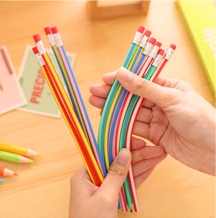 New 1 Piece Korean Stationery Cute Candy Color Soft Flexible Standard Pencils School Fashion Office Supplies