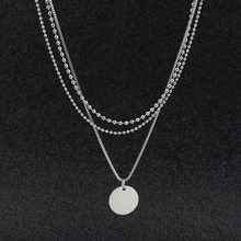 Stainless steel three-layer bead chain small wafer necklace for women fashion Korean round clavicle chain jewelry wholesale(China)