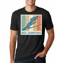 Vintae Retro Style Ski Long Jump Jumping Jumper T-Shirt Funny Top Tee Awesome Normal Cotton T Shirt Customized Spring(China)