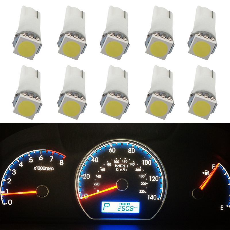 10 Pcs Car LED COB SMD T5 5050 LED Car Dash/Meter/Reading Step Light Auto Wedge Clearance Lamp Bright White License Plate Bulbs