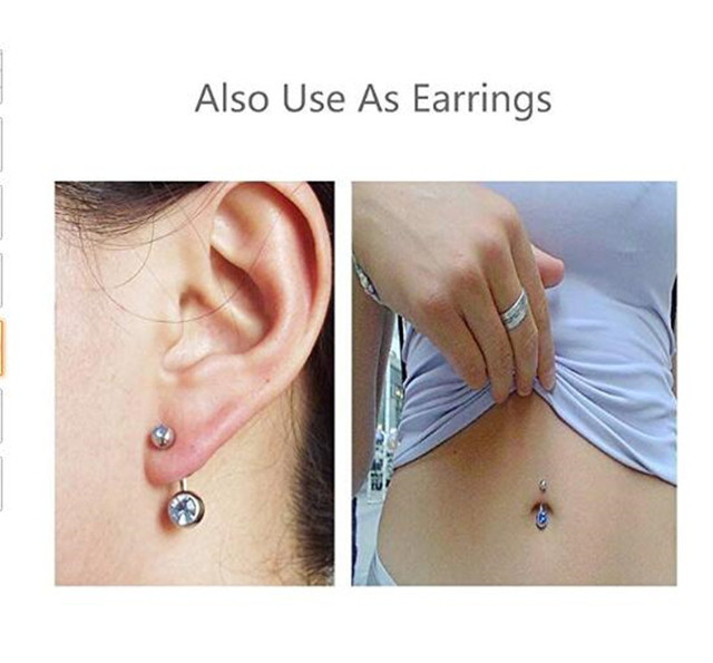 14G Short Belly Button Rings for Women Body Curved Barbell Dangle Body Piercing Set Navel Bar Rings CZ  -Tone 6mm 8mm 10mm 6