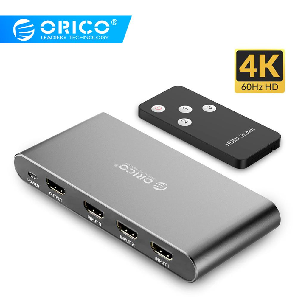 ORICO 3 Input 1 3 Ports KVM Switches Output 4K 60Hz HDMI 2.0 Switcher 3 Port For PC Laptop XBOX 360 PS3 PS4 TV DVD