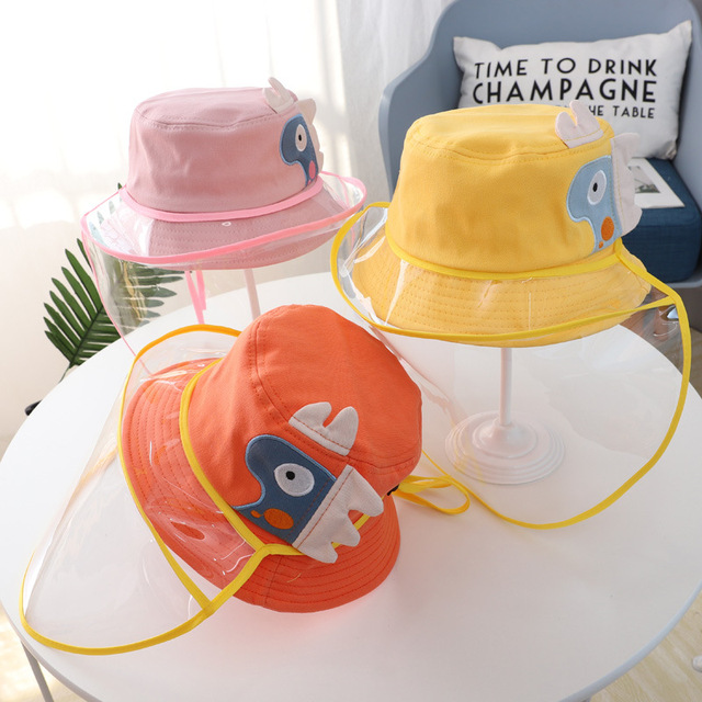Baby Kids Bucket Hat Boys Girls Cap Protective Face Shield Cover Mask Detachable Sun Hats Anti Saliva Dustproof Fisherman Caps 1