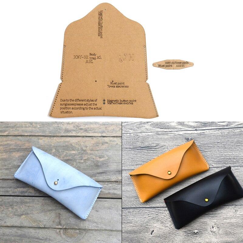 Bricolage à la main lunettes étui lunettes de soleil Kraft papier modèle à la main en cuir artisanat sac modèle 17cm * 8cm