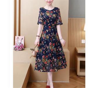 A-Line Dresses Short-Sleeve Detail Lace Vintage High-Waist Ladies Summer Print