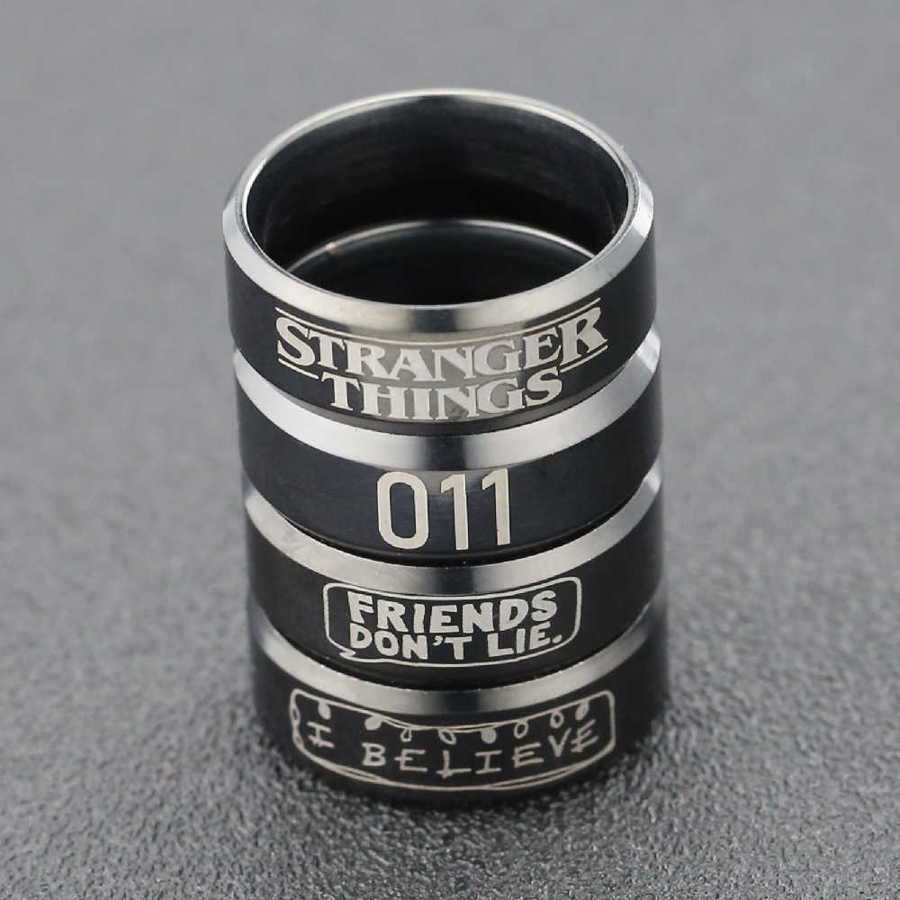 Stranger Things Ring Eleven 011 Amigos No Mienten Letra Negra De Acero Inoxidable Serie Tv Joyeria Para Hombres Al Por Mayor Aliexpress