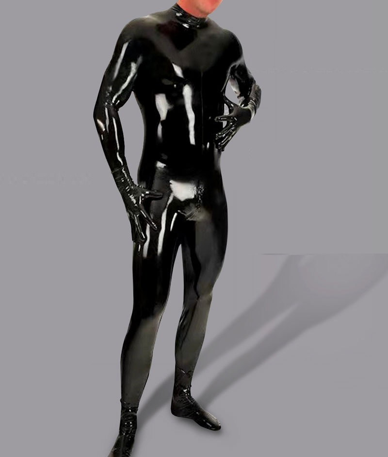 Sexy Shiny Bodysuit Men Full Body Cover PU Latex Waterproof U Convex Pouch Jumpsuit Sexy Lingerie Tight Gay Wear With Glove M115