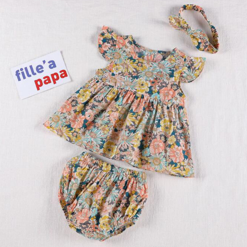 Korean Japan Style Baby Girls Clothing Sets Dress Tops+ PP Shorts Summer Baby Girls Cotton Flower Short sleeve Clothes Suit 2