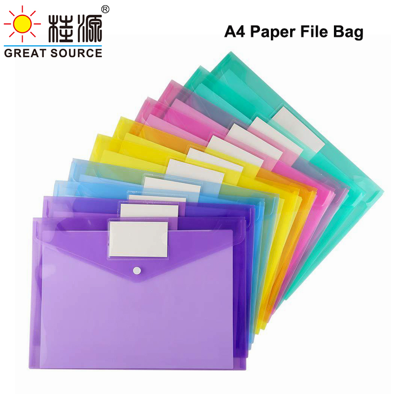 Waterproof Document Bag A4 File Bag Thick Document Button Bag With Label Insert W230*H335mm(9.06