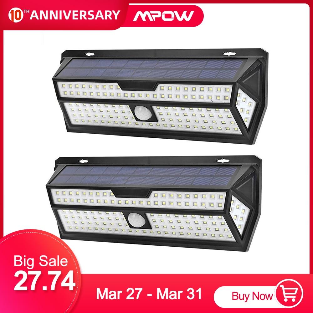 Mpow 132 LED Solar Garden Lights 1810LM PIR Motion Sensor Lamp Outdoor Emergency Security Light IP65 Waterproof Solar Wall Lamp