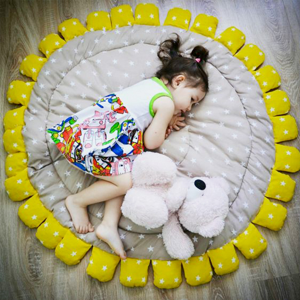INS vente chaude tournesol tapis pour enfants à la main pur coton enfants tapis de jeu bébé ramper tapis