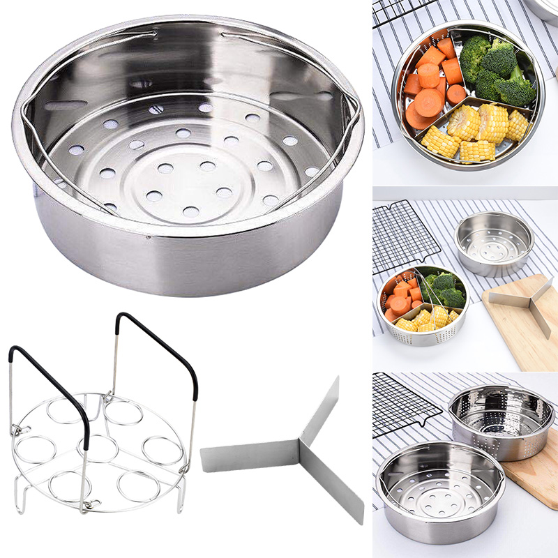 Hot Stainless Steel Pot Steamer Basket Egg Steamer Rack Divider For Pressure Cooker Pot FQ-ing
