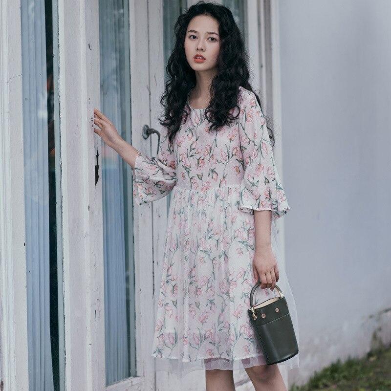 (Photo Shoot) 2019 Spring And Summer-Printed Three-quarter-length Sleeve Medium-length Dress Fairy
