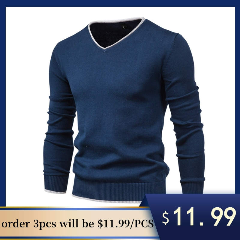 Men's Sweater Clothing Pullover V-Neck Long-Sleeve Slim Casual 100%Cotton Autumn New