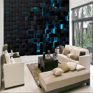 Modern Technology Mural Wallpapers for Office Esports Hall Living Room Wall Paper 3D Blue Light Shining Black Cubes Home Decor(China)