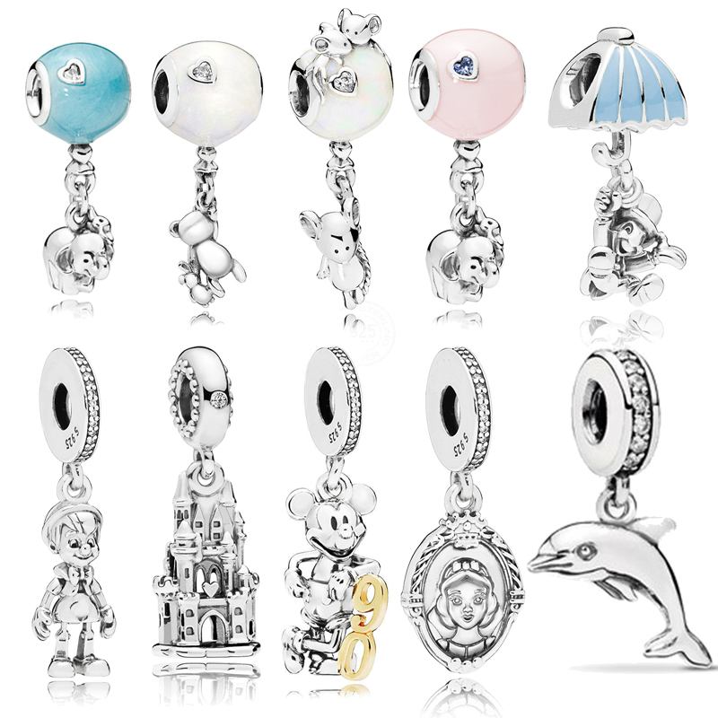 925 Sterling Silver Beads 10 Types Cartoon Mouse Ballon White Snow Beads Charms fit Original Pandora Bracelets Women DIY Jewelry(China)