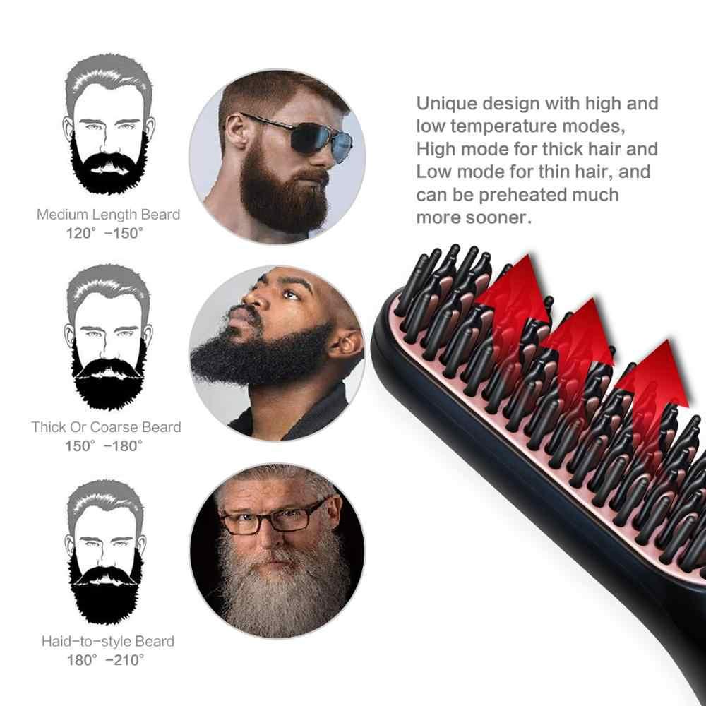 Beard Straightener สำหรับผู้ชาย Professional Hair หวีแปรงผมตรง Straightening Comb Quick Hair Styler