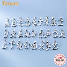 Trustdavis-Colgante sencillo de circonia cúbica brillante para mujer, Plata de Ley 925 auténtica con 26 letras, accesorios DIY para mujer, joyería fina S25 DE BODA DA1990