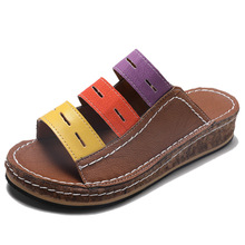 Women PU Leather Shoes Comfy Platform Flat Sole Ladies Casual Soft Sandal Ourdoor Slippers Fashion Beach