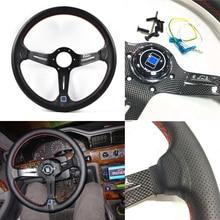 14 Polegada 350mm volante do carro de couro de fibra carbono olhar volante esporte deriva roda com bordado n * logotipo padrão