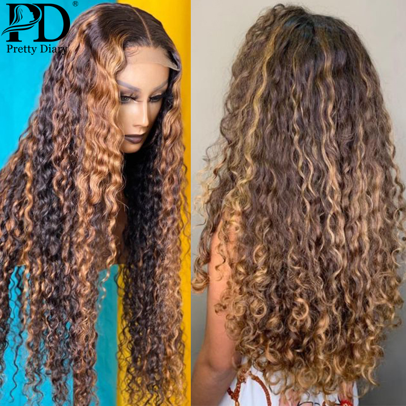 N. ° 4/27 resalte rubio miel degradado 13x1 T Peluca de malla con división peluca brasileña marrón ola de agua profunda Peluca de cabello humano rizado con encaje frontal