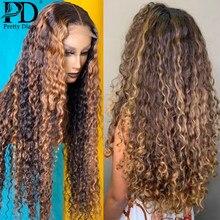 Peluca de malla con división para mujer, postizo de cabello humano rizado con malla con división, color rubio miel, ombré 13x1 T, color marrón, n. ° 4/27