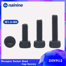 Din912 M1.6-M12 preto de alta resistência 12.9 nível liga de aço parafuso sextavado cabeça soquete parafusos b005