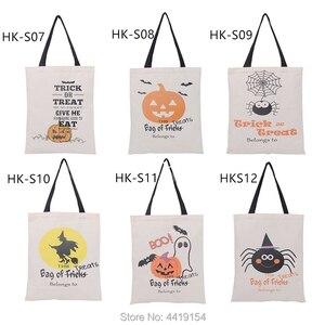 Image 2 - Luvy 1pcs Halloween Sacco Sacchetto di Tote della Tela di Halloween Secchio Bambini Decorazione Del Partito Regalo di natale Babbo Sacchi Trick or Treat Candy borsa