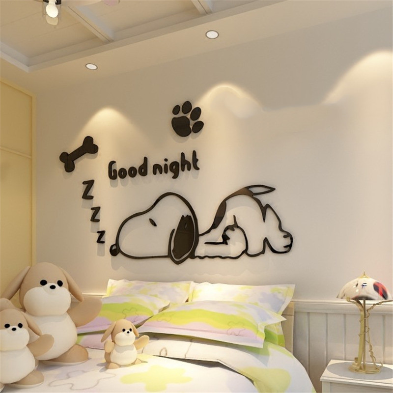 diy Cartoon Dog Mirror 3D Wall Stickers room decoration For Kids rooms Decor living room TV background wall art home decor mural (6)