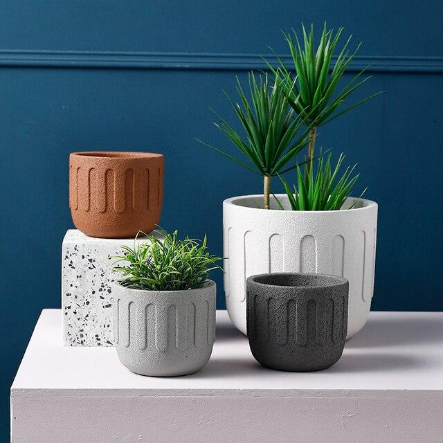 Moule rond en silicone pour pot de fleurs en ciment, moule créatif pour pot de fleurs, plantes en pot
