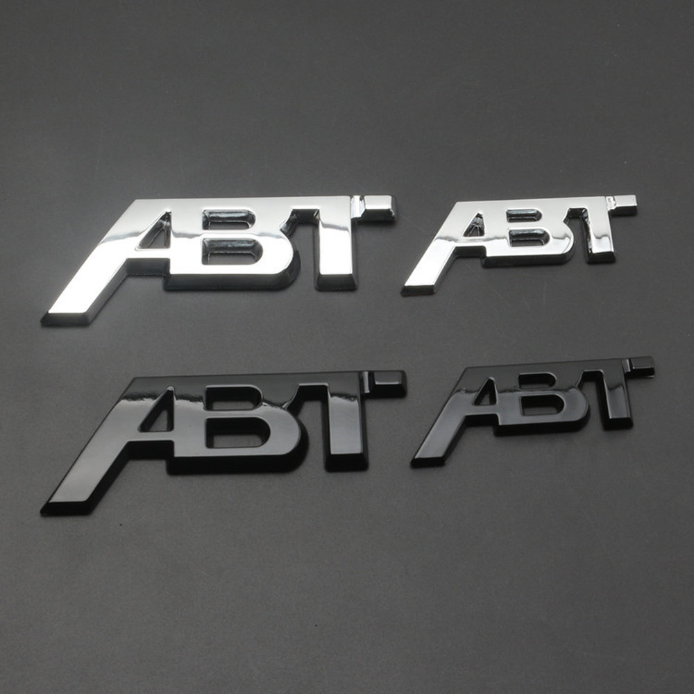 Chrome Silver Glossy Black ABT 3D Adhesive Rear Side Body Car Badge Emblem Stickers Logo for Audi VW