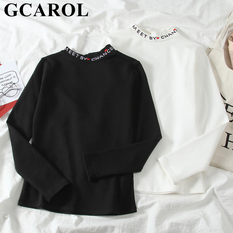 GCAROL 2020 Early Spring Women Half Collar Letters Embroidery Shirt Stretch Sexy Slim Fit To Body Tops OL Chic Pullover