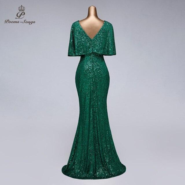 Sexy sequin Evening dress short sleeves vestidos de fiesta green dress evening gowns for women Party dress prom dresses 3