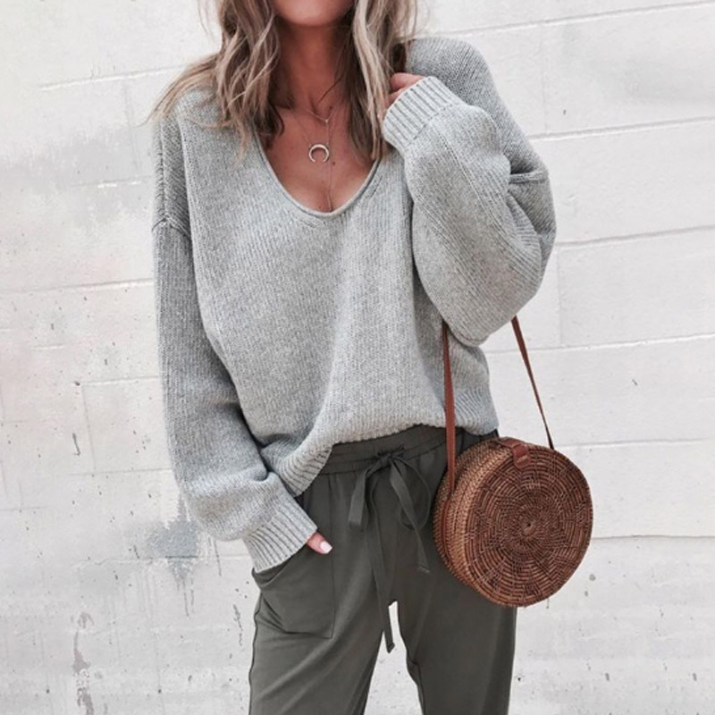 Sale 2019 New Autumn Winter Solid Women Pullovers Loose Streetwear Long Sleeve V Neck Casual Knitted Sweater Popular 1PC