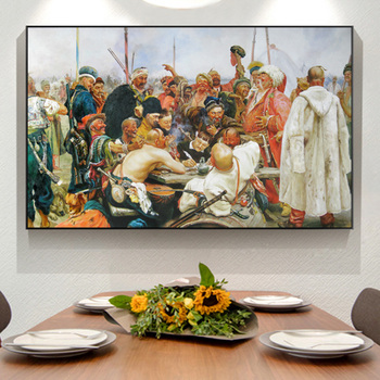 Ilya Repin Russian Oil Painting Reply Of The Zaporozhian Cossacks To Sultan Mehmed IV Art Prints On Canvas Wall Picture Decor image