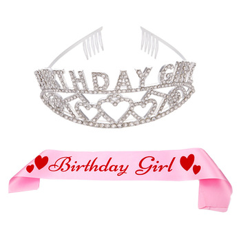 Birthday Princess Girl Gift Alloy Tiara Crown Pink Ribbon Set Women Sash Band Party Decoration Accessories