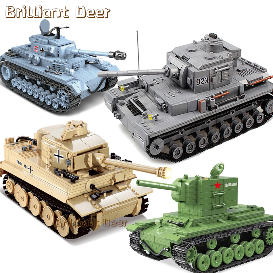Inventory Clearance Military German IV Tiger Tank Model Building Blocks Compatible Legoed WW2 Army Soldier Weapon Kids Boys Toys