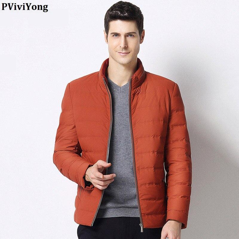 PViviYong 2019 Winter hohe qualität weiße ente unten jacke männer, stehkragen kurze absatz zipper parka Mantel männer 1690 - 5