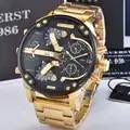 KUERST Herren Gold Uhr Luxus Marke Wasserdichte Sport Quarz chronograph uhren Uhr Vier Zeit Zone Armbanduhr Männer 2019