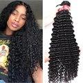 30 дюймов глубокая волна пряди вьющиеся волосы для наращивания, человеческие волосы пряди камень Волосы Remy 3 / 4 пряди сделка бразильские воло...
