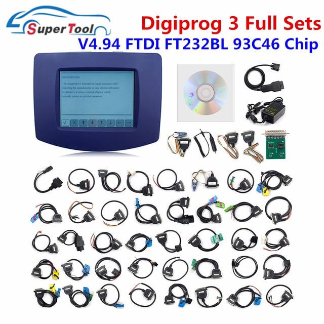 DHL משלוח Digiprog 3 V4.94 מלא סטי כבלי Digiprog III 4.94 FTDI שבב FT232BT אוטומטי קילומטראז נכון כלי דיגיטלי מתכנת