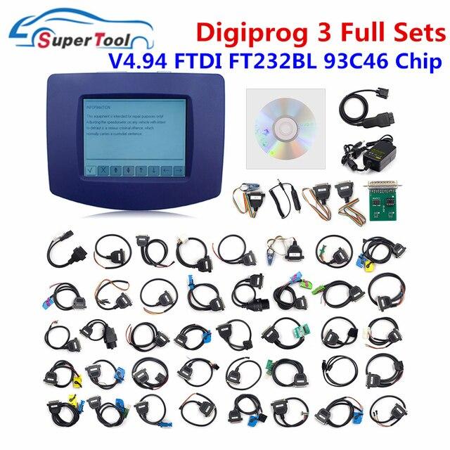 Dhl Gratis Digiprog 3 V4.94 Volledige Sets Kabels Digiprog Iii 4.94 Ftdi Chip FT232BT Auto Kilometerstand Juiste Gereedschap Digitale Programmeur