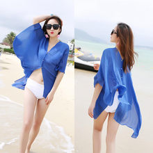 2020 spring winter Women Chiffon Beach Cover up Swimsuit Kimono Cardigan Shawl Beach Wrap Cover up Sunscreen Cheaper Scarf#10(China)