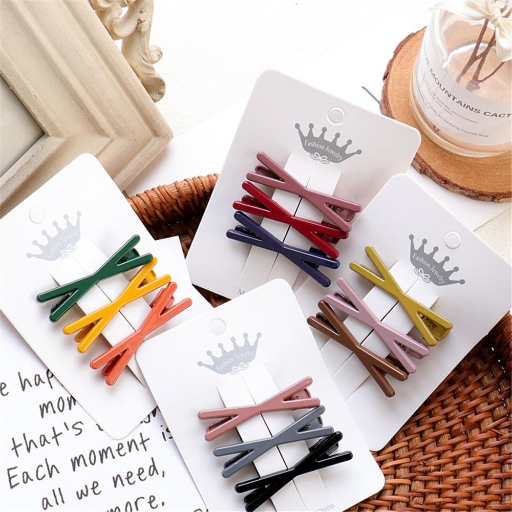 3pcs/Set Fashion Women Metal Hair Pin Clip Geometric Lovely Bows Clip Hairgrips Barrettes Hair Accessories
