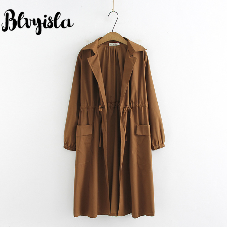 Blvyisla Korean Slim Waist Lady Style Thin   Trench   Long Sleeve with Pocket Windbreakers Chic Outwear