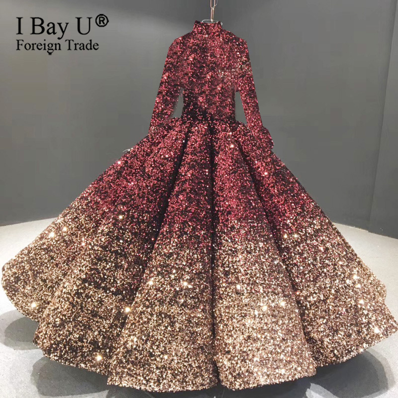 Burgundy Golden 2020 France Luxury Sparkling Sequins Long Sleeve Wedding Dress Sexy Sweetheart Ball Gown Robe De Mariée